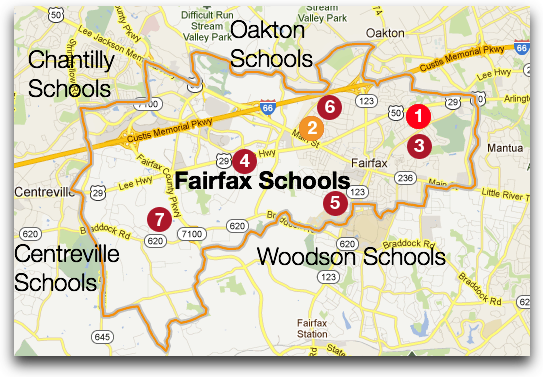 Fairfax High School boundary and feeder schools (2011-2012)