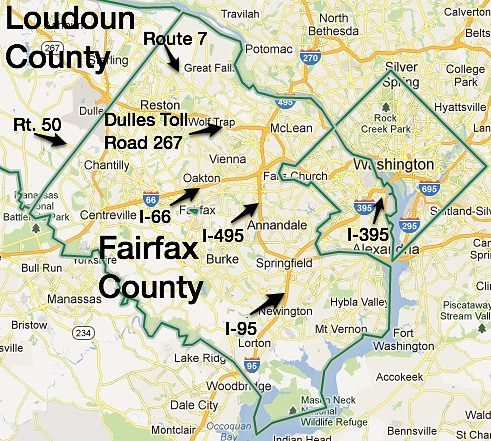 Main roads into Washington DC from Fairfax County & Eastern Loudoun
