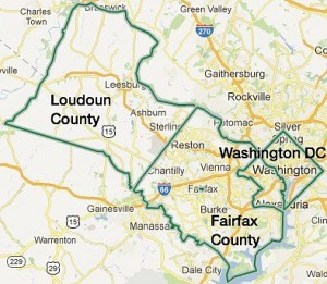 Location of Fairfax County and Loudoun County