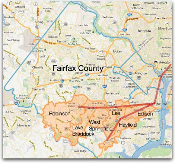 Fairfax County School boundaries accessible to the Virginia Railway Express (VRE)