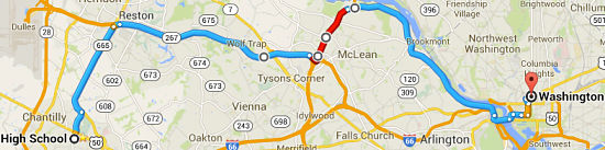Fairfax County (Chantilly area) to DC (via I-267, I-495, GW Parkway)