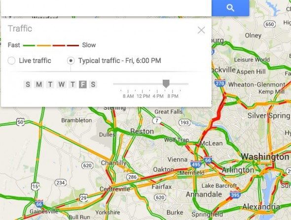 Google Maps - Typical Traffic Conditions