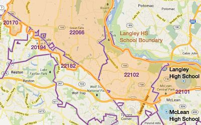 The Langley HS boundary serves 6 Fairfax County zip codes