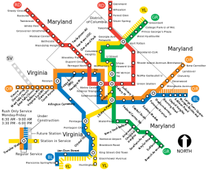 DC METRO map of stations in Virginia